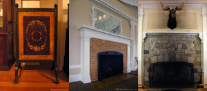 A photo gallery of fireplace screens in various shapes and sizes.